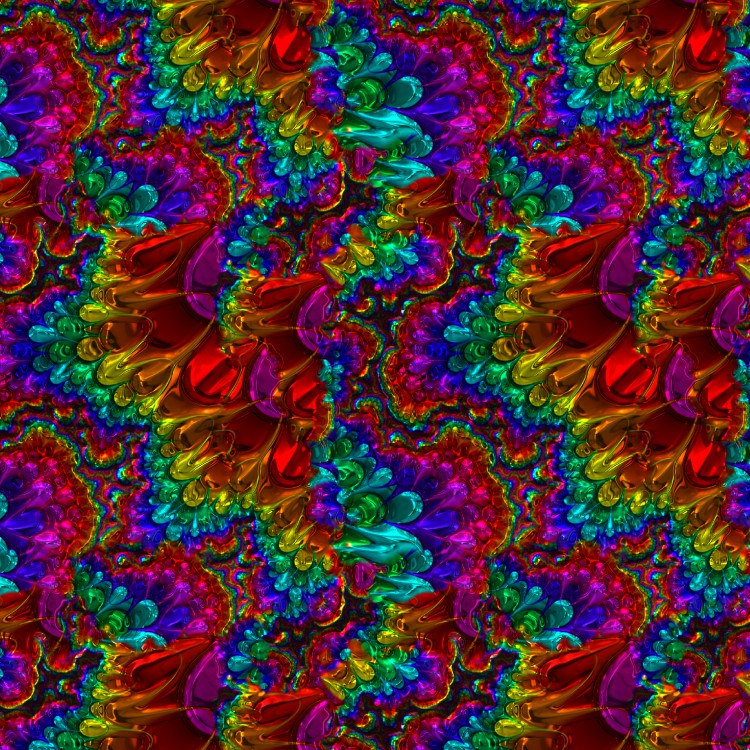 Chrome Fractal Rainbow Pattern Extraordinary Rainbow Pattern